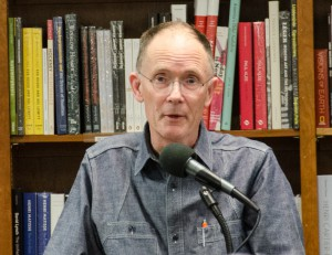 William Gibson.  Reading his new book, The Peripheral