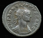 Aurelian; 270-275 A.D.; Silvered antoninianus; Obverse: IMP AVRELIANVS P AVG, Radiate and cuirassed bust right;  Nice portrait, well centered, toned.  3.495g, 23.9mm; Very Rare