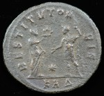 Aurelian; 270-275 A.D.; Silvered antoninianus; Reverse: RESTITVT ORBIS (restorer of the world), female standing left presenting wreath to Aurelian, standing right in military dress and holding long scepter in left hand.  ; 3.495g, 23.9mm Very Rare.