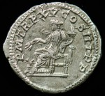 Caracalla; 198-217 A.D.; Silver denarius.  Reverse:  P M TR P XV COS III P P, Annona seated left holding stalks of grain and cornucopia, modius at feet.  3.163g, 19.7mm