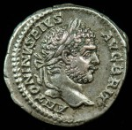 Caracalla; 198-217 A.D.; Silver denarius.  Obverse: ANTONINVS PIVS AVG BRIT, laureate head right.  superb portrait, excellent centering and strike, toned. 3.163g, 19.7mm