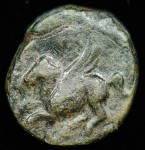 Corinth, Corinthia, Greece; 303-287 B.C.; Bronze AE 12.  O: Pegasus flying left, koppa below; 1.874g, 12.2mm