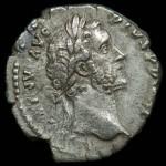 Antoninus Pius; Silver denarius, 157-158 A.D.,  Rome Mint; O:  ANTONINVS AVG PIVS P P IMP II; Laureate head right.