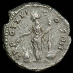 Antoninus Pius; Silver denarius, 157-158 A.D.,  Rome Mint; R: TR POT XXI COS III; Annona standing left, heads of grain in right over modius at feet, rudder on prow in left
