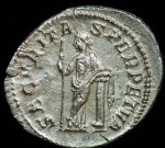 Gordian III, Silver Antoninianus, 238-244 A.D.; R: Security standing Left, holding sceptre, leaning on column