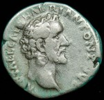 Antoninus Pius; Silver denarius, 157-158 A.D.,  O: His bare head
