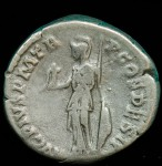 Antoninus Pius; Silver denarius, 157-158 A.D.,  R:  Minerva standing Left, holding victory, with spear and shield.