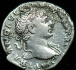 Trajan, Silver denarius, 98-117 A.D.; O: His laureate head