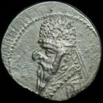 Parthis, Mithradates II; 123-88 B.C.; Silver drachm; O: His bust