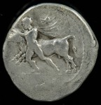 Larissa, Thessaly, Greece, Silver drachm, Larissa mint, 400-380 B.C., Rare ethnic arrangement, 5.521g, 21.8mm.  BCD Thessaly II 372.10 (same dies), SNG Delepierre 1108 (same reverse die) SNG Cop 108 ff var (ethnic arrangement) Hermann pl III, 18 var (same). O: Thessalos left restraining bull leaping left using band around bull's forehead held in both hands, he is naked but for the chlamys over shoulders, petasos with cord around his neck flying above