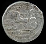 Roman Republic, Ar Denarius (3.97g), Aemilius & P. Plautius, 58 BC. R: Jupiter driving quadriga.   R3C Amelia8