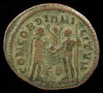 "Maximianus, AE Antoninianus, 286-305 AD.  R:  Max. receiving victory globe from Jupiter ""Concordia Militum"".  Sear 3611"