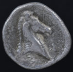Pharsalos, Thessaly, Greece, 370-340 B.C.  Silver hemidrachm.  VF.  superb classical style, centered on a tight flan, marks, porosity, etched reverse, 2.886g, 16.3 mm, Pharsalos (Farsala, Greece) mint, 370-340 B.C.  Reverse:  Horses head and neck right, concave field