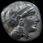 Athens. Ar tetradrachm. 353-294 BC. Obv. Helmeted head of Athena.